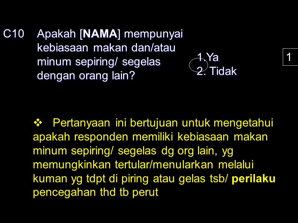 C10 Apakah [NAMA] mempunyai kebiasaan makan dan/atau minum sepiring/ segelas dengan orang lain 1.Ya.